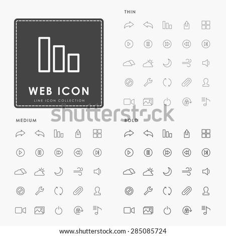 web thin, medium and bold line icons - stock vector