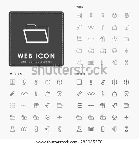 web thin, medium and bold minimal outline icon - stock vector