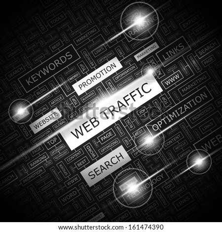 WEB TRAFFIC. Word cloud concept illustration. Wordcloud collage. Vector illustration. - stock vector