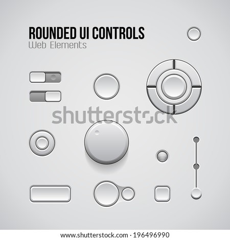 Web UI Controls Design Elements: Buttons, Switchers, On, Off, Player, Audio, Video: Play, Stop, Next, Pause, Volume, Equalizer, Knobs  - stock vector