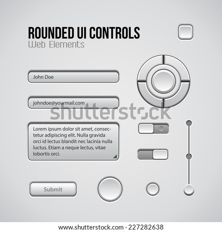 Web UI Controls Design Elements: Buttons, Switchers, On, Off, Player, Audio, Video: Play, Stop, Next, Pause, Volume, Equalizer, Knobs, Navigation Bar, Progress Bar, Search, Input, Text Box, Joystick - stock vector