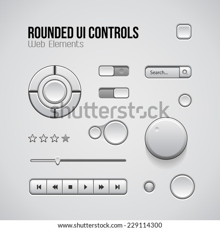 Web UI Controls Design Elements: Buttons, Switchers, On, Off, Player, Audio, Video: Play, Stop, Next, Pause, Volume, Equalizer, Knobs, Joystick, Navigation Bar, Progress Bar, Search, Rating - stock vector