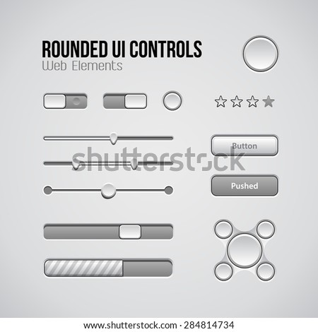 Web UI Controls Design Elements: Buttons, Switchers, On, Off, Player, Audio, Video: Play, Stop, Next, Pause, Volume, Equalizer, Knobs, Navigation Bar, Progress Bar, Search, Drop-down - stock vector