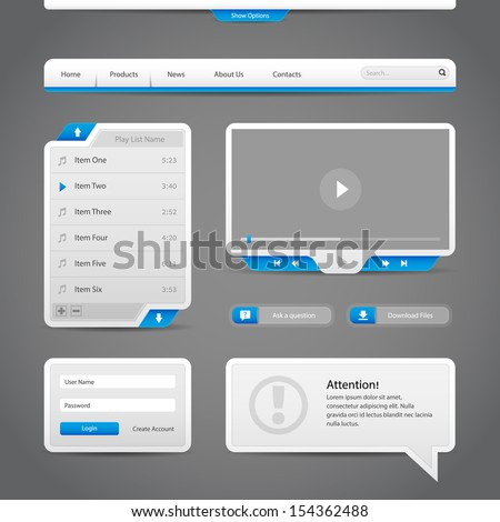 Web UI Controls Elements Gray And Blue On Dark Background: Navigation Bar, Buttons, Login Form, Play List, Message Box, Menu, Video Player, Play, Stop, Search, Download, Tooltip - stock vector