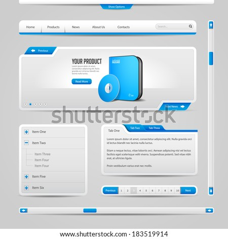 Web UI Controls Elements Gray And Blue On Light Background: Navigation Bar, Buttons, Form, Slider, Message Box, Menu, Tabs, Search, Scroll, Download, Pagination, Download  - stock vector