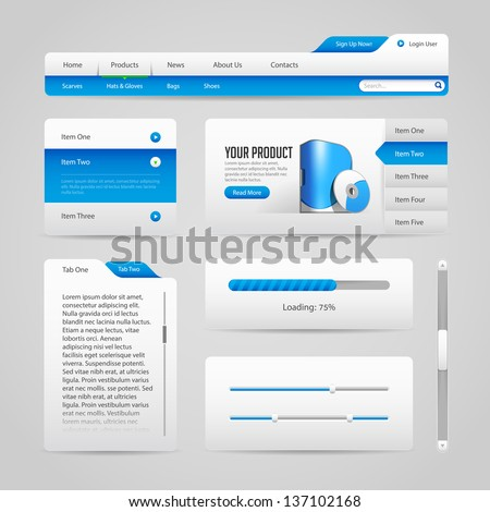 Web UI Controls Elements Gray And Blue On Light Background 3: Navigation Bar, Buttons, Slider, Message Box, Menu, Tabs, Login, Search, Menu, Scroll, Progress Bar, Accordion - stock vector
