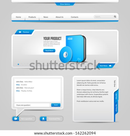 Web UI Controls Elements Gray And Blue On Light Background: Navigation Bar, Buttons, Slider, Message Box, Chat, Menu, Tabs, Input Text Area, Search, Scroll, Download, Tooltip  - stock vector