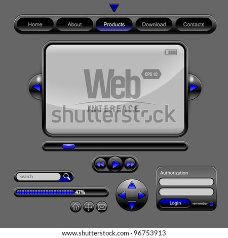 Web UI Elements Design Gray Blue - stock vector