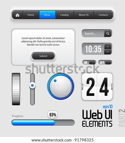 Web UI Elements Design Gray Blue: Part 2 - stock vector