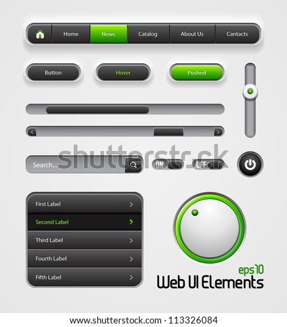 Web UI Elements Design Gray Green: Navigation Bar, Menu, Slider, Scroller, Equalizer, Volume, Button, Power, On, Off, Search, Website Elements - stock vector