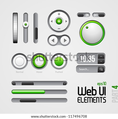 Web UI Elements Design Gray Green: Part 4 - stock vector