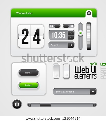 Web UI Elements Design Gray Green: Part 5 - stock vector