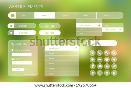 web ui elements suitable for flat design, transparent on green blurry background, vector illustration, eps 10 with transparency and gradient mesh - stock vector