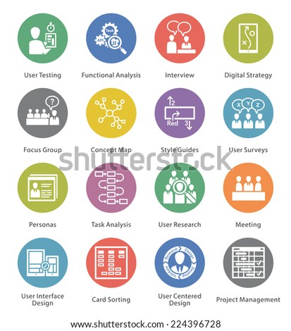 Web Usability & Accessibility Icons Set 1 - Cercle Series  - stock vector