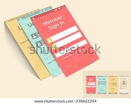 Web user interface with login feature in four color choice for smart phone on beige background. - stock vector