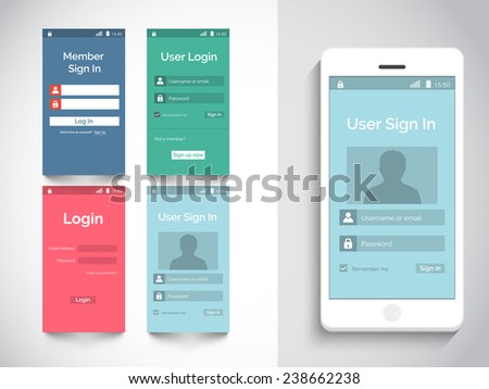 Web user interface with login feature in four color choice with smart phone presentation on grey background. - stock vector
