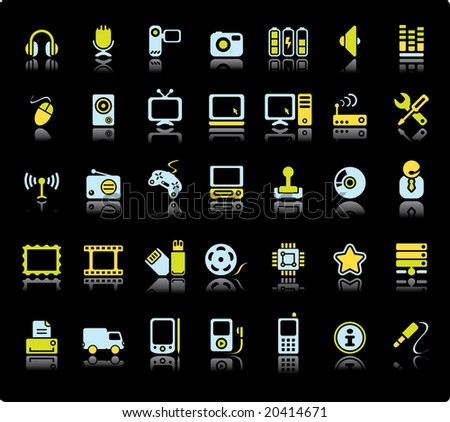 Web Vector Icon Set On Black Background. Audio And Video Symbols. - stock vector