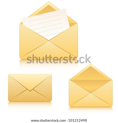 Web vector icons: closed envelope, open envelope and envelope with letter - stock vector