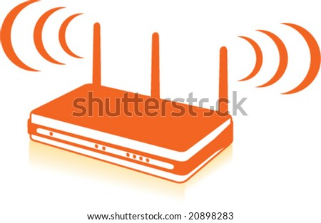 Web Waves Wireless WIFI router - stock vector