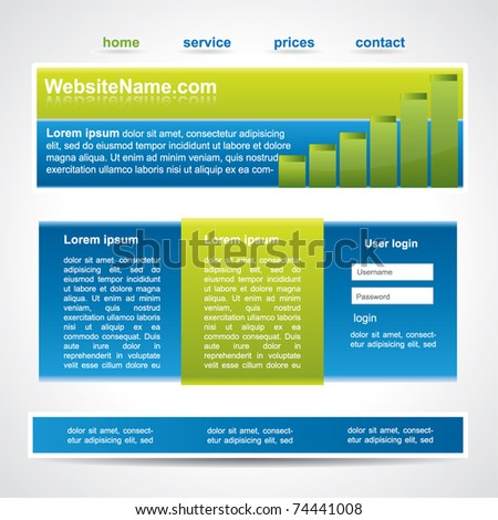 Web2 website template in three main element - stock vector