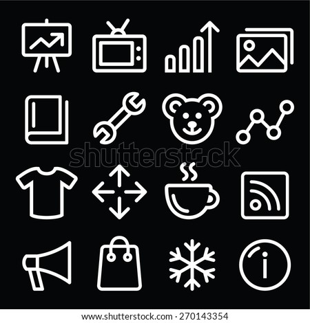 Web white navigation line icons set - photo gallery, online store  - stock vector