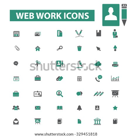 web work icons - stock vector