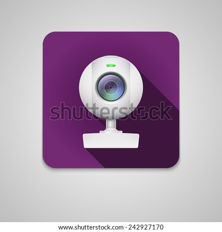 Webcam of white plastic. Icon on a dark square background - stock vector