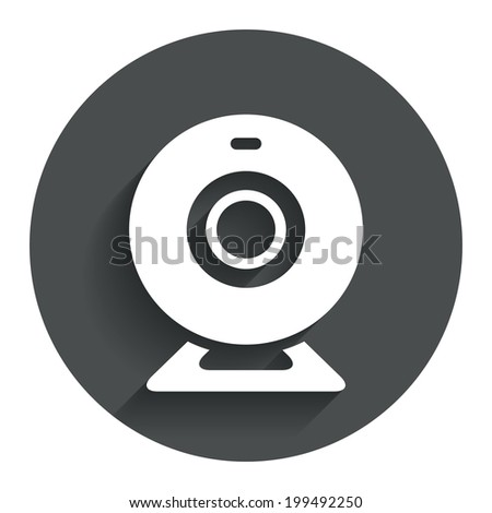 Webcam sign icon. Web video chat symbol. Camera chat. Circle flat button with shadow. Modern UI website navigation. Vector