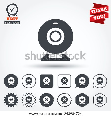 Webcam sign icon. Web video chat symbol. Camera chat. Circle, star, speech bubble and square buttons. Award medal with check mark. Thank you. Vector