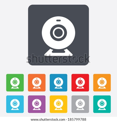 Webcam sign icon. Web video chat symbol. Camera chat. Rounded squares 11 buttons. Vector - stock vector