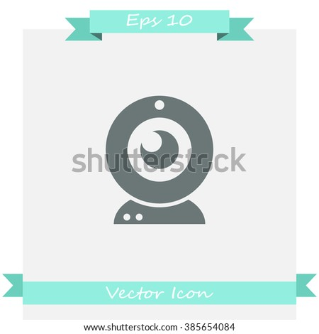 Webcam vector icon. Camera chat symbol.