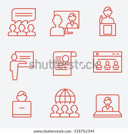 Webinar and communication icons, thin line style, flat design - stock vector