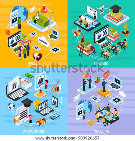 Webinar concept icons set with podcasting symbols isometric isolated vector illustration