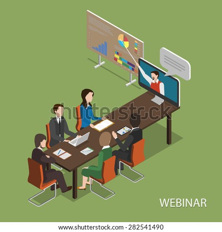 Webinar Flat Isometric Vector Concept. People In Office at Table Listen Online Presentation. - stock vector
