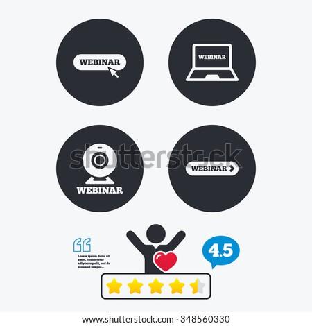 Webinar Icons Web Camera Notebook Pc Stock Vector 348560330