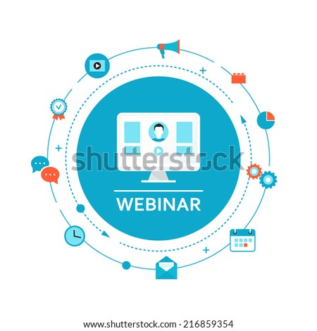 Webinar Illustration. Online Education and Training. Distance Learning - stock vector