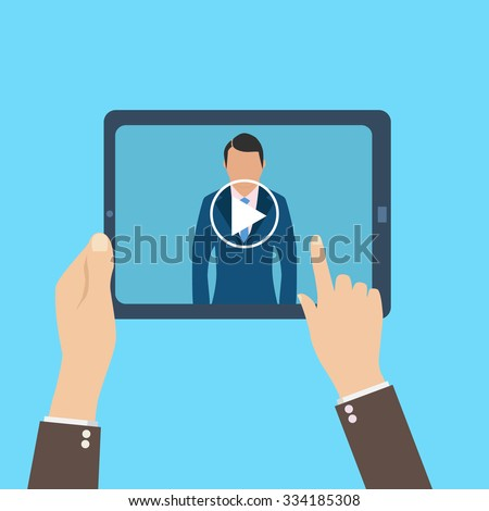 webinar, online conference, lectures and training in internet. - stock vector