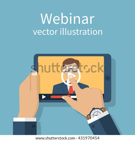 Webinar, online conference, lectures, training in internet. Distance learning. Vector flat design. Online presentation. Businessman hand tablet touching screen. Webinar web template banner. - stock vector