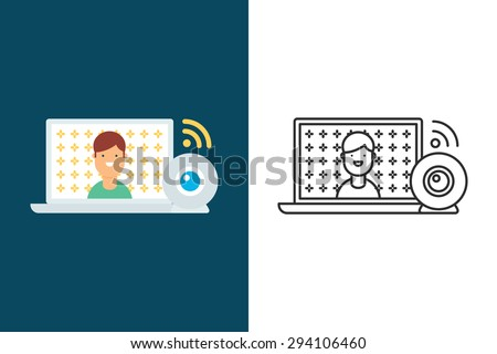Webinar, tutorial, blogging, video flat and line style vector icon - stock vector