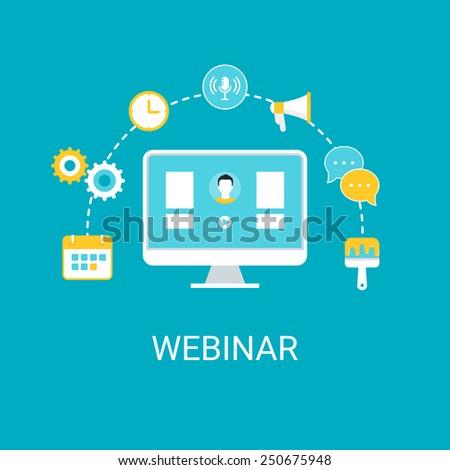 Webinar, Webcast, Livestream, Online Event Illustration - stock vector
