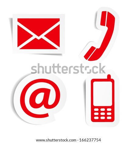 Website and Internet contact us red icons set and design symbols on stickers with shadow. EPS10 vector illustration isolated on white background. - stock vector