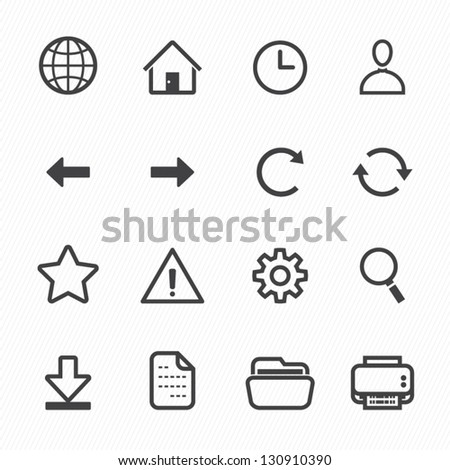 Website and Toolbar Icons with White Background - stock vector