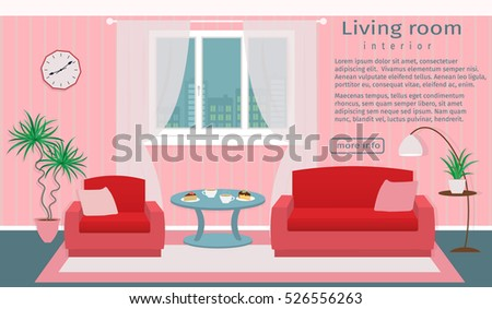 Website Banner Living Room Interior Vector Stock Vector HD (Royalty ...