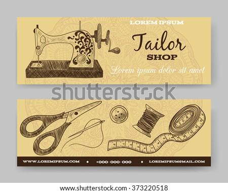 Website banner or header set. Tailor shop. Template for design. Vector illustration. Thimble, needle, thread, bobbin, scissors, vintage sewing machine - stock vector