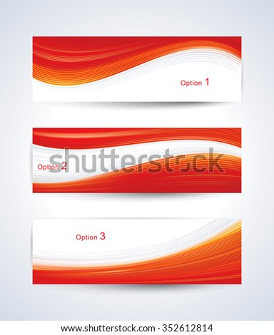 Website banner set with red wave pattern. - stock vector