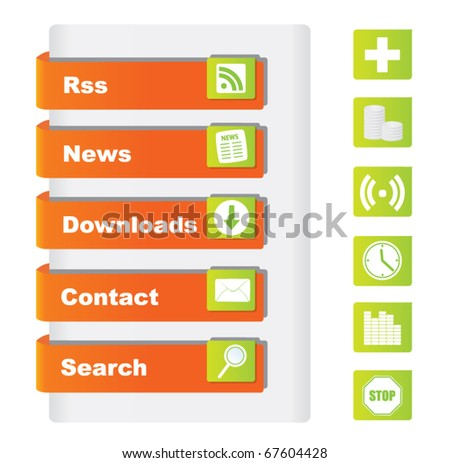 Website buttons with icons - stock vector