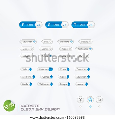 Website Clean Sky Design, Template, Buttons, Sign, Symbol, Emblem for Web Design, User Interface, Mobile Phone - stock vector