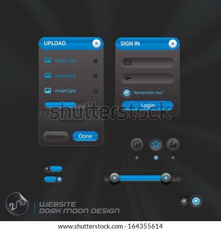 Website Dark Moon Design, Template, Buttons, Sign, Symbol, Emblem for Web Design, User Interface, Mobile Phone - stock vector