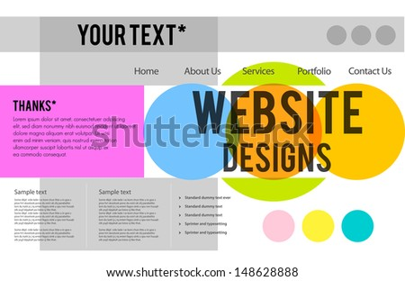 Website design business template, editable Vector illustration. - stock vector