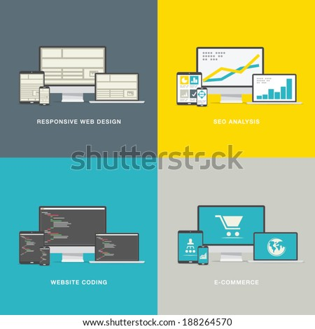 Website design concepts in modern awesome flat styles - stock vector